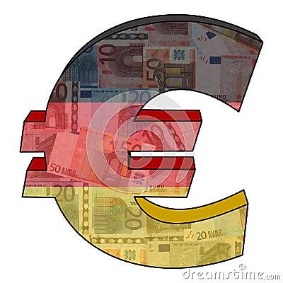 Euro mit deutscher Markierungsfahne