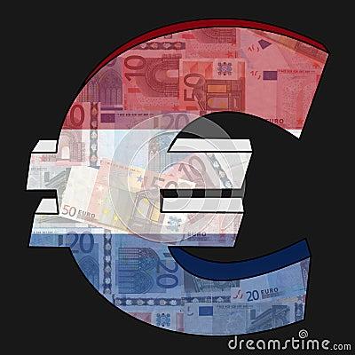 Euro mit holländischer Markierungsfahne