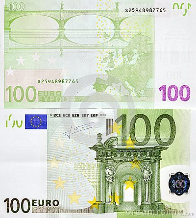 100 EURO MONEY BANKNOTE TWO SIDES