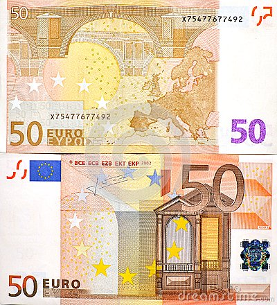 50 EURO MONEY BANKNOTE TWO SIDES