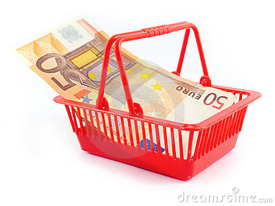 Euro money basket bassta market trade