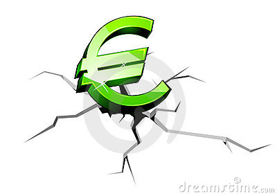 Euro money down
