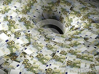 Euro money flow in black hole