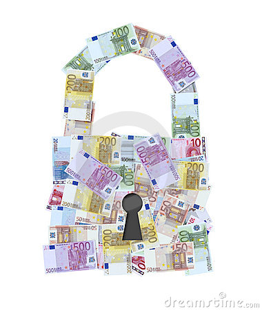 Euro money notes padlock