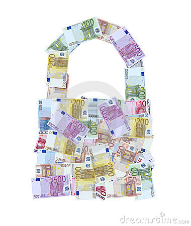 Euro money notes padlock or bag