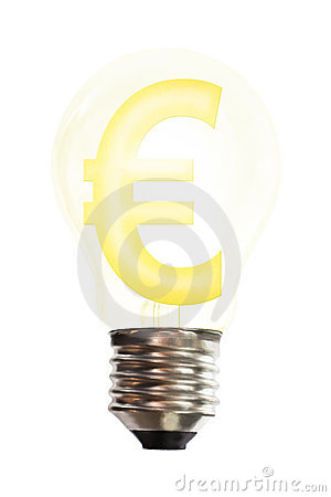 Euro money sign in light bulb
