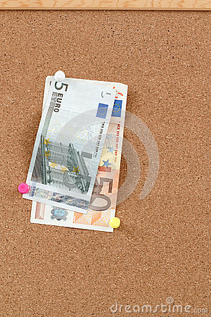 Euro moneys on cork board