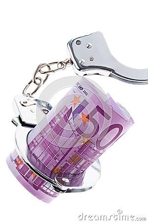 Euro- nota de banco com algemas