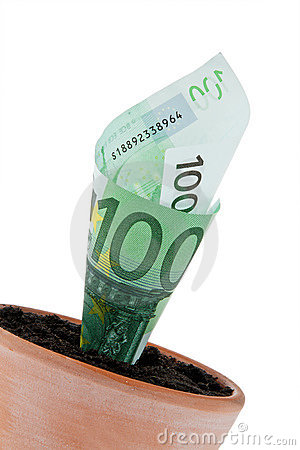 Euro-note in flower pot. Interest rates, growth.