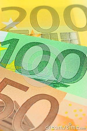 Euro notes closeup
