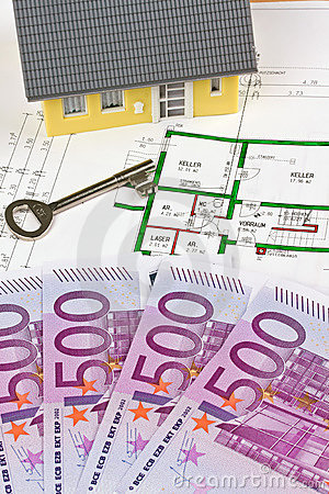 Euro notes and plan of a house