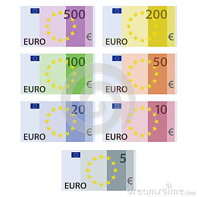 Euro paper bill banknotes