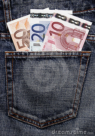 Free Euro Pocket Money In Blue Jeans Royalty Free Stock Photos - 4944498
