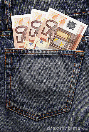 Free Euro Pocket Money In Blue Jeans Royalty Free Stock Images - 5063759