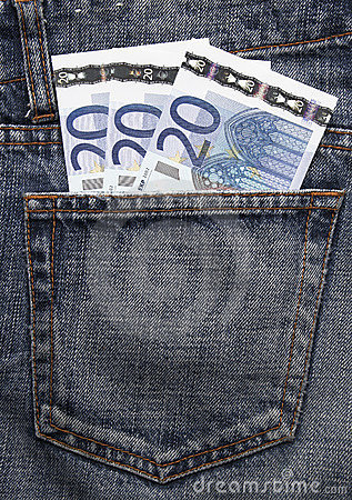 Free Euro Pocket Money In Blue Jeans Stock Photo - 5144920