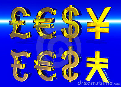 Euro Pound Dollar and Yen Symbols in Gold