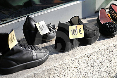 Euro price tags on shoes