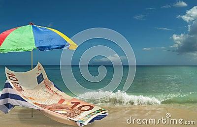 Euro is resting & enjoying on paradise beach.