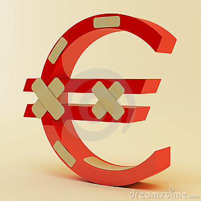 Euro sign with bandage