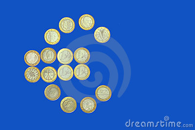 Euro sign on blue