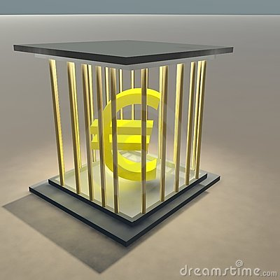Euro sign in a cage