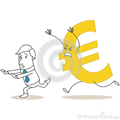 Euro sign chasing scared cartoon businessman