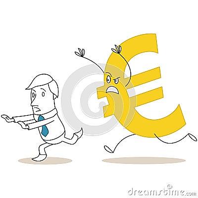 Euro sign chasing scared cartoon businessman