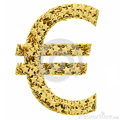 Euro sign composed of golden stars