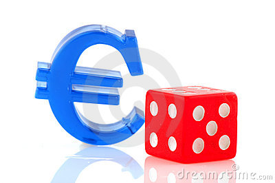 Euro sign with dices
