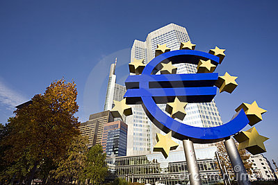 Euro sign at European Central Bank, Frankfurt