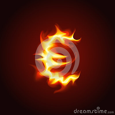 Euro sign of fire