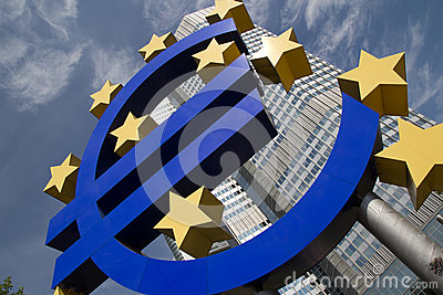 Euro Sign in Frankfurt Editorial Stock Photo