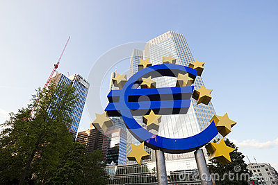 Euro sign and European Central Bank Editorial Photo