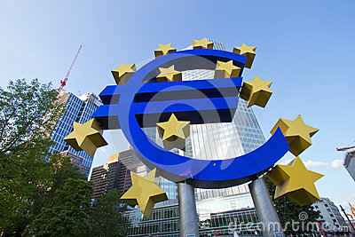 Bank with euro sign Editorial Image
