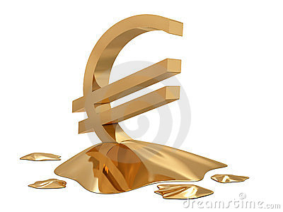 Euro sign golden melt