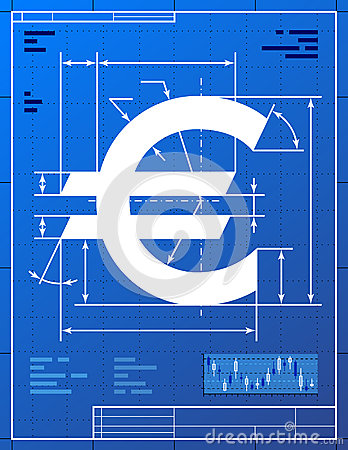 Euro sign like blueprint drawing