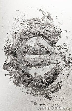 Euro sign made of ash