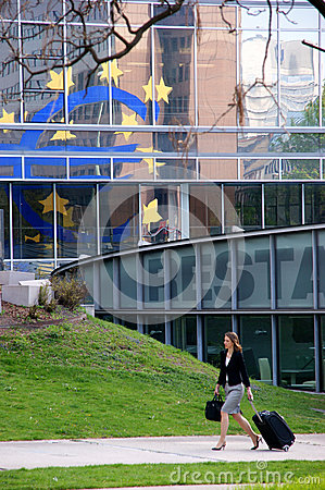 Euro Sign reflected Editorial Photography