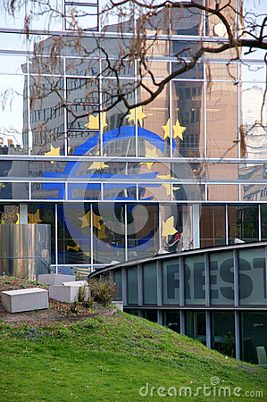 Euro Sign reflected Editorial Image