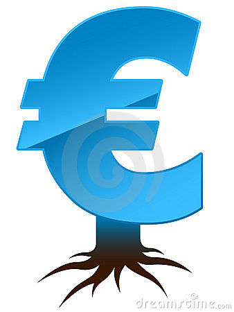Euro sign with roots