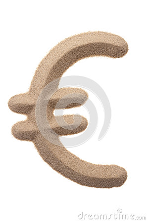 Euro sign in sand sculpture