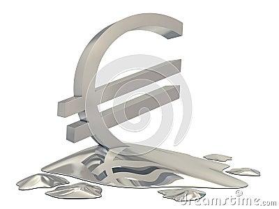 Euro sign silver melt