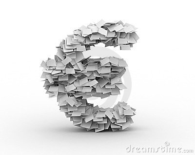 Euro sign, stacked from paper sheets