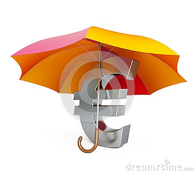 Euro sign under umbrella