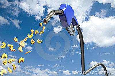 Euro signs dripping out of a blue fuel nozzle
