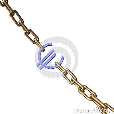 Euro- sinal em uma corrente do ouro.