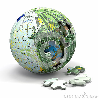 Euro sphere from puzzle. Conceptual image.