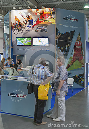 Euro Sport Broadcasting company booth Editorial Image