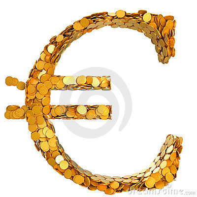Euro stability. Symbol assembled with coins