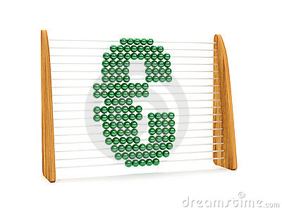 Euro symbol in an abacus